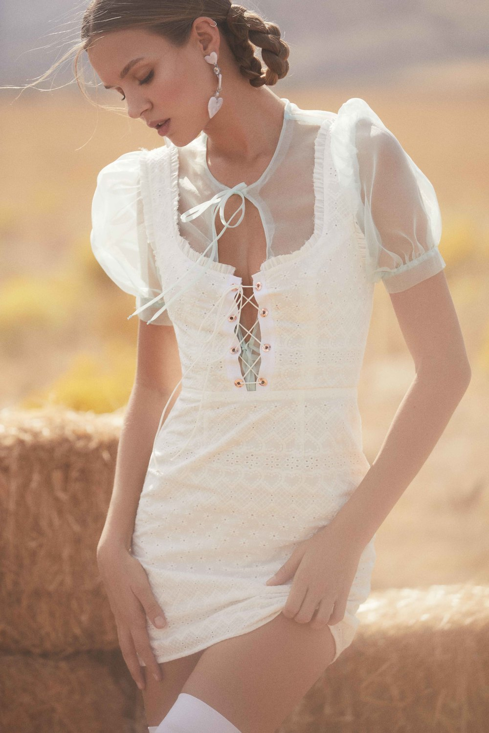 4a98d0236cc Charlotte Eyelet Lace Up Mini Dress Out Of Stock